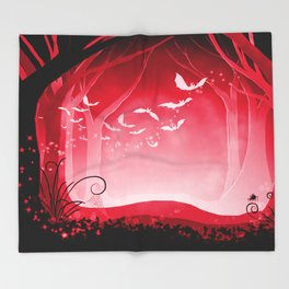 Dark Forest at Dawn in Ruby Throw Blanket