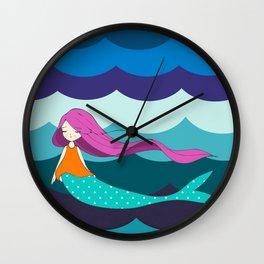 Mermaid in Blue Wall Clock