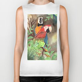 Parrot Couple with tropical leaves Watercolor Design Biker Tank