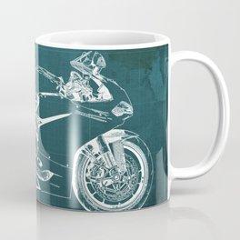 D Superbike 1299 Panigale 2015 green blueprint Coffee Mug