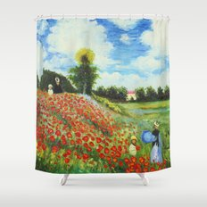 Claude Monet - Poppy Field at Argenteuil Shower Curtain