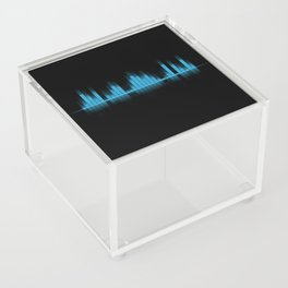 Cool Blue Graphic Equalizer Music on black Acrylic Box