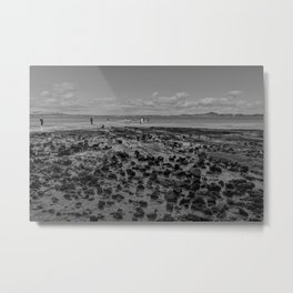 Black and white stony beach in Auckland New Zealand Metal Print