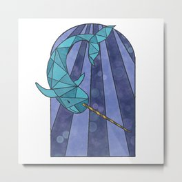 Narwhal Stained Glass Window Abstract Art Metal Print