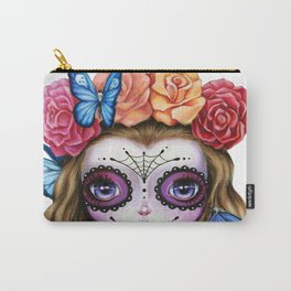 Sugar Skull Gil with Flower Crown and Butterflies Carry-All Pouch