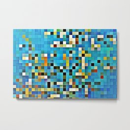 Blue glass mosaic Metal Print