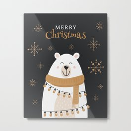 Christmas Polar Bear Metal Print