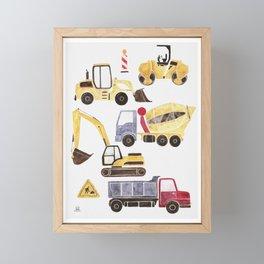 Construction Machines Framed Mini Art Print