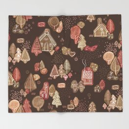 Hansel and Gretel Fairy Tale Gingerbread Pattern on Brown Throw Blanket
