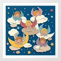 angels Art Prints featuring Angels by Helene Michau