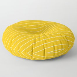 Thin lines white background yellow Floor Pillow