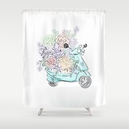 flowers and scooter. Flowers art Flower Art Print. Shower Curtain