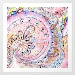 Pink Boho Watercolor Art Print