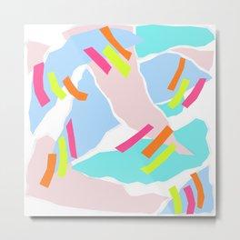 Pastel Paper with Neon Stripe Metal Print