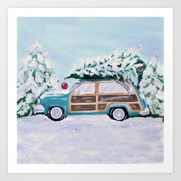 Blue vintage Christmas woody car with pine tree Art Print