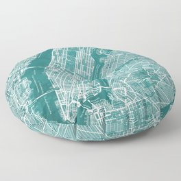 Turquoise Teal Wall Art Showing Manhattan New York City, Brooklyn and New Jersey Floor Pillow