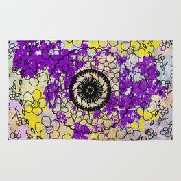 Flowers & Lace Yellow with Purple Rug