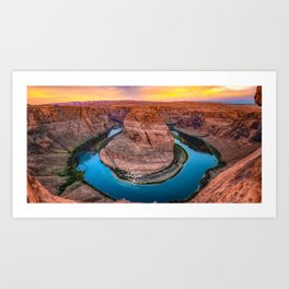 Colorful Panoramic View of Horseshoe Bend - Page Arizona Art Print