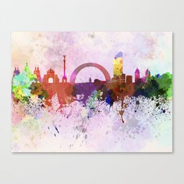 Kiev skyline in watercolor background Canvas Print