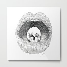 skull in lips Metal Print