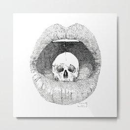 skull in lips Metal Print
