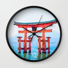 Itsukushima shrine watercolor painting Wall Clock