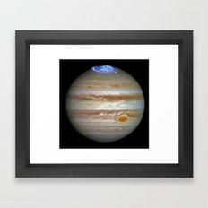 Hubble Captures Vivid Auroras in Jupiter's Atmosphere Framed Art Print