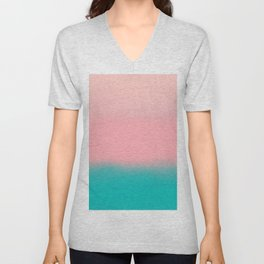 Modern abstract emerald green pink coral ombre Unisex V-Neck