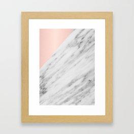 Real Carrara Italian Marble and Pink Framed Art Print