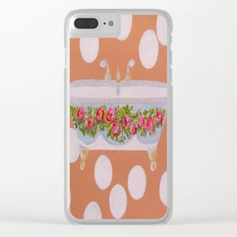 Circles and Suds Bathroom Art Clear iPhone Case