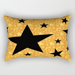 balck star and orange spiral Rectangular Pillow
