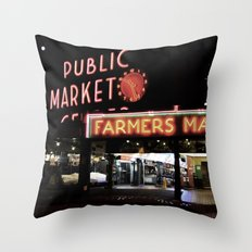 Pike Place Farmers Market - at night Throw Pillow