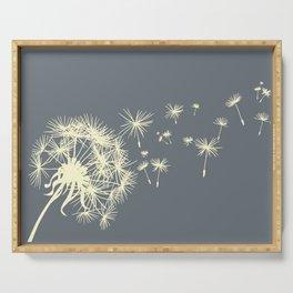 Dark Gray Ivory Dandelion Make a Wish Serving Tray