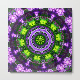 Mandala purple and green Metal Print