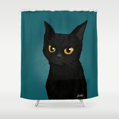 Cat in the blue Shower Curtain