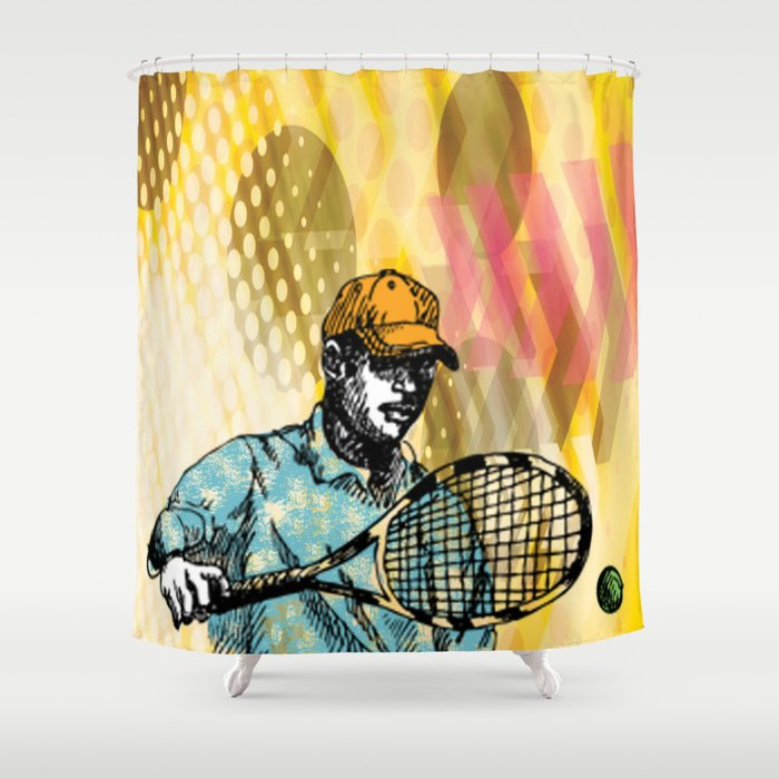 Tennis Backhand Shower Curtain