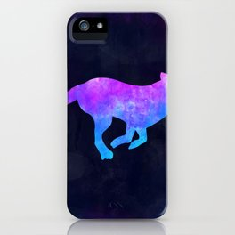 DOG RUNNING IN SPACE // Animal Graphic Art // Watercolor Canvas Painting // Modern Minimal Cute iPhone Case