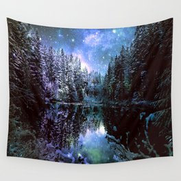 A Cold Winters Night : Violet Teal Green Winter Wonderland Wall Tapestry
