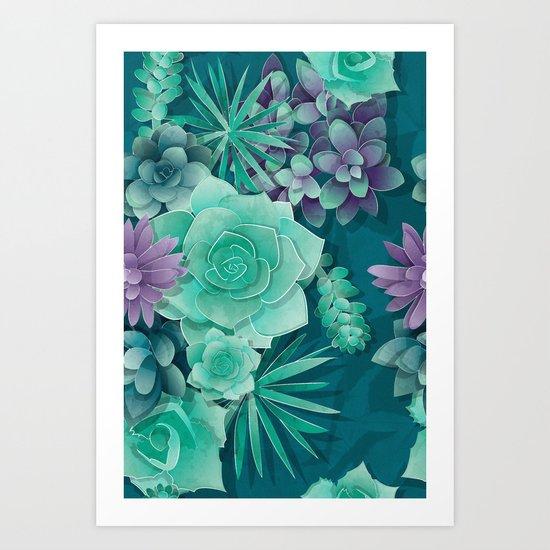 Succulent Love I Art Print