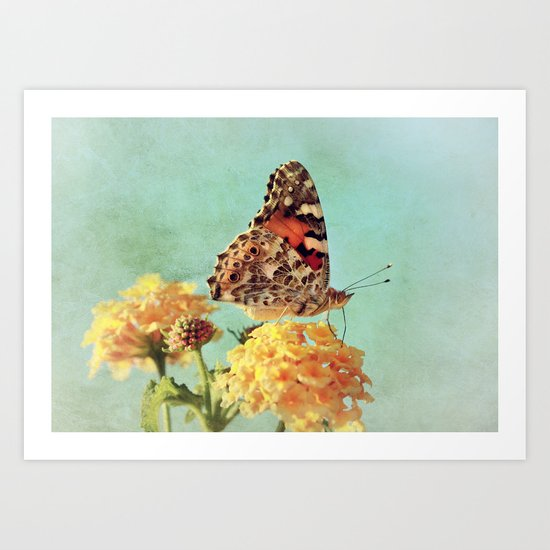 Butterfly on Lantana Art Print