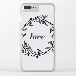 Baesic Mono Floral Love Clear iPhone Case