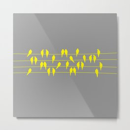 Yellow and Gray Birds on a Wire Metal Print