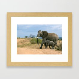 Elephant with calf in Africa Framed Art Print