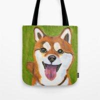 shiba inu Tote Bags featuring Happy Shiba Inu by AnimalFrenzArt  -- Whimsical animal art