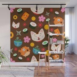 Kawaii Kitty Loves Fugu and Sushi Cute Pattern Design Wall Mural