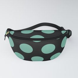 Colorful Mid Century Modern Polka Dots 528 Turquoise and Black Fanny Pack