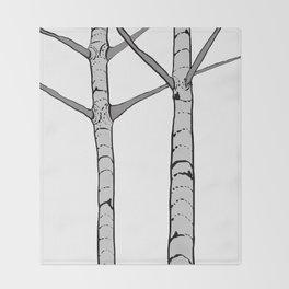 Poplar Tree Illustrated Print Throw Blanket