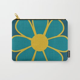 Big Daisy - Minimalist Retro Flower in Moroccan Stained Glass Teal and Mustard Carry-All Pouch