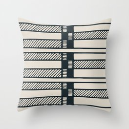 Lines, Seams and Buckles, (Charcoal and Cream) Throw Pillow