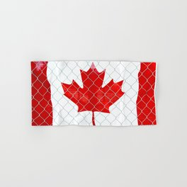 Rustic Canada Flag behind Chain Link Fence Hand & Bath Towel